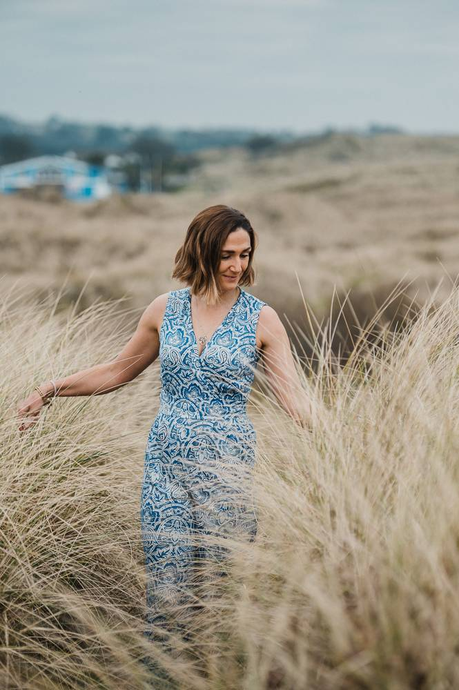 Gina Dunlevy walking through the dunes in Wexford