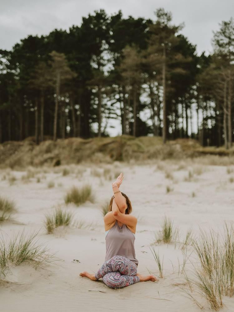Yoga teacher posing on branding photo session in Wexford