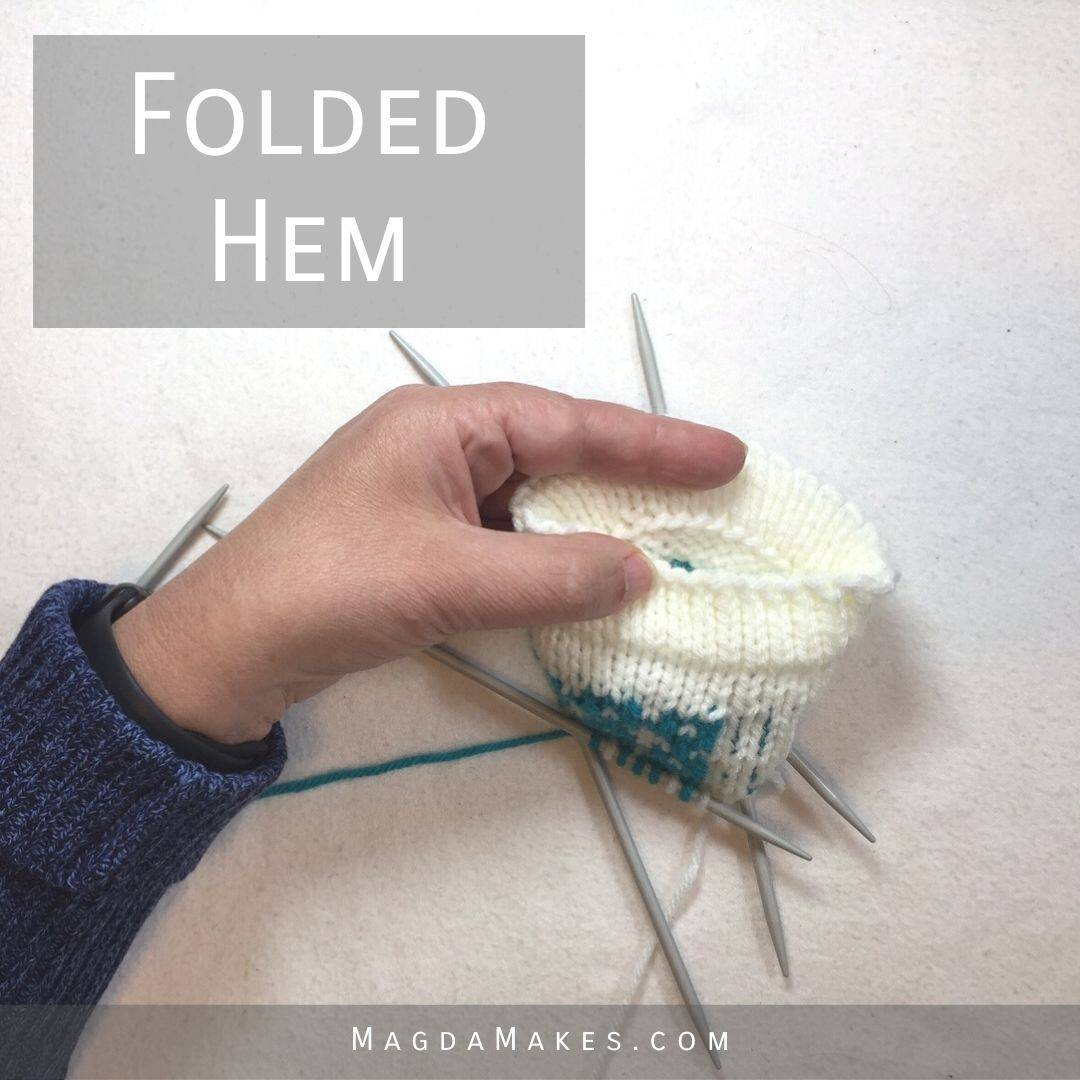 A folded hem from the inside and the outside.