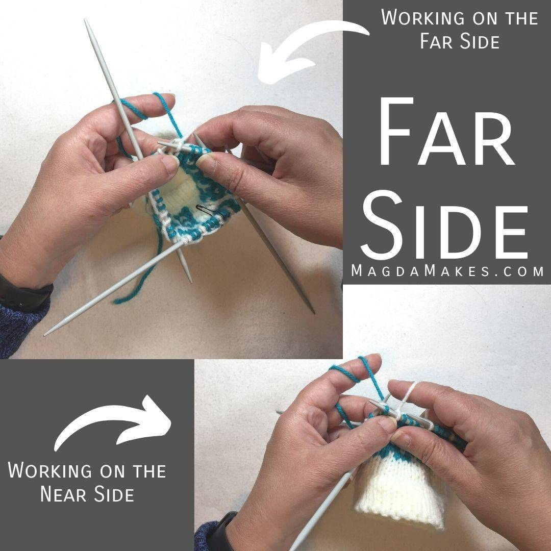 hands knitting on the far side and on the near side of circular knitting