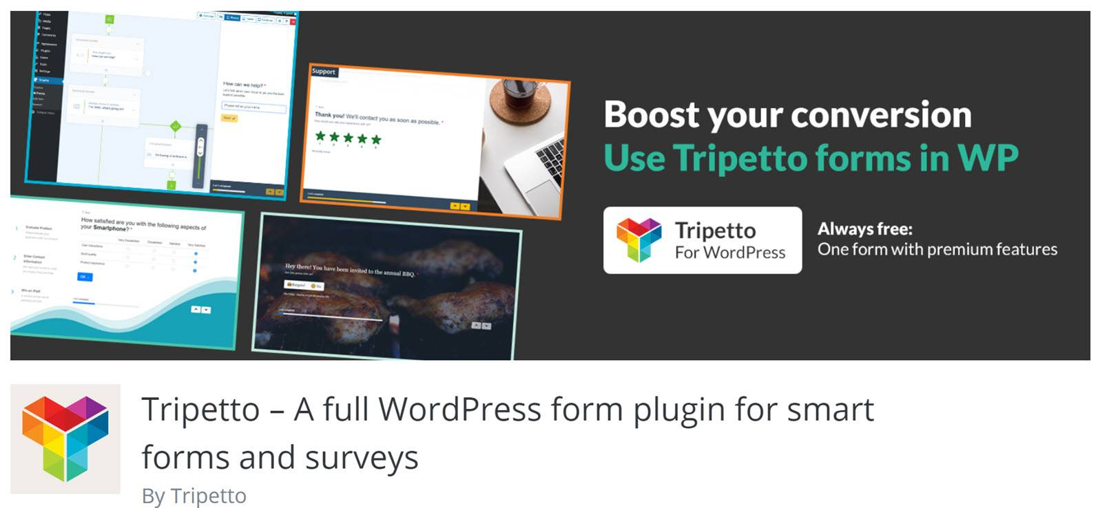 WordPress form builder plugins Trippeto