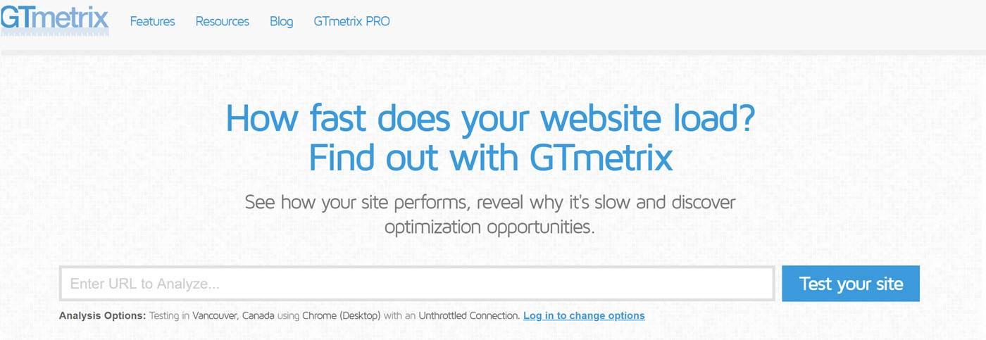 website testing tools - GTmetrix