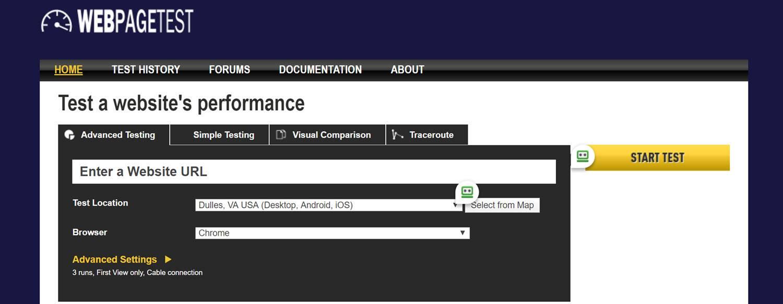 website testing tools - webpagetest