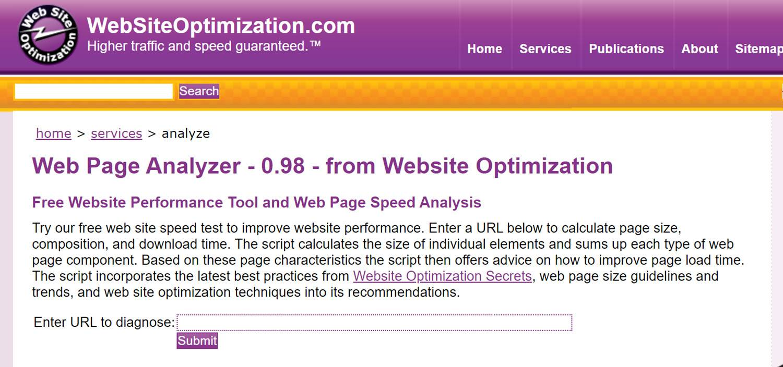 website performance testing tools WebPage Analyzer