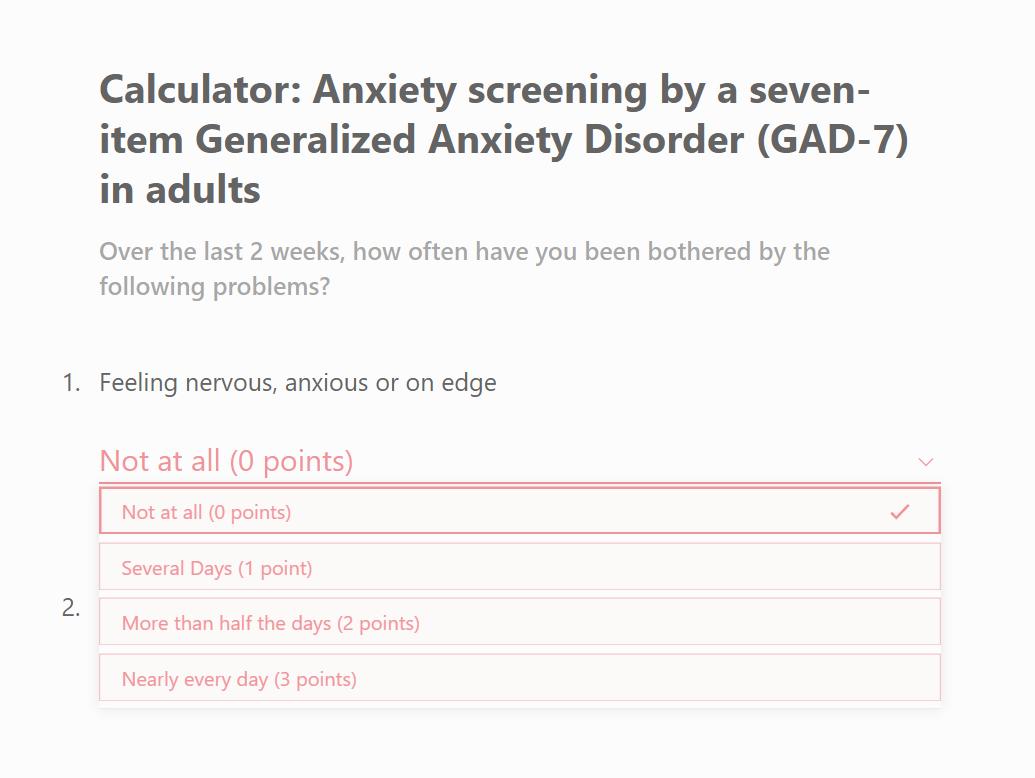 GAD 7 Questionnaire