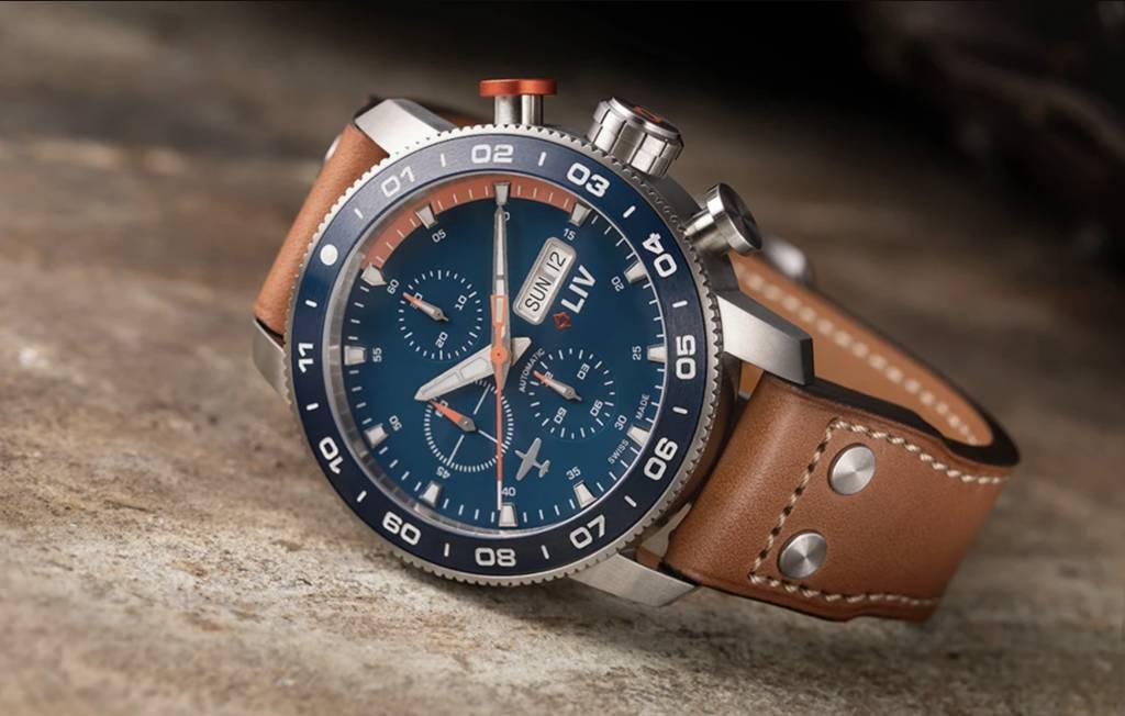 LIV P-51 Pilot's Watch on leather strap